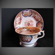 Antique English Cup & Saucer, Chinoiserie,  Hilditch, Early 19th C