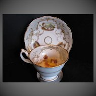 Staffordshire Porcelain Cup & Saucer, Handpainted Landscapes, Antique Early 19th C English
