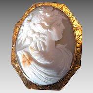 Antique Cameo Brooch, Harvest Goddess, Large, 10K Gold