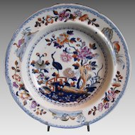 """. Davenport Stone China Soup Bowl Plate, English Chinoiserie """"Stork"""", Antique Early 19th C"""