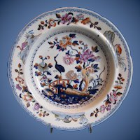 "Antique Soup Plate/Bowl, Chinoiserie ""Stork"",  Davenport Stone China, Early 19th C"