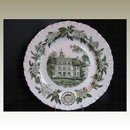 Wedgwood Plate, University of Washington, Denny Hall, Green,  Vintage