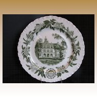 Wedgwood Plate, University of Washington, Denny Hall, Green,  Vintage