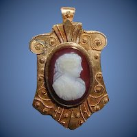 Antique Hardstone Cameo Brooch, 19th C Etruscan Revival