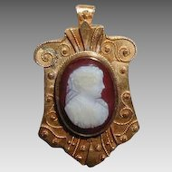 Cameo Brooch, Hardstone, Antique 19th C Etruscan Revival