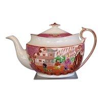 "Antique Joseph Machin Porcelain Teapot,  ""Proposal"" Chinoiserie,  Early 19th C English"