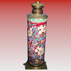 Antique French Longwy Lamp, 19th C Art Pottery
