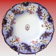 Davenport Soup Plate,  Armorial,  Cobalt & Gold, Antique Early 19th C English Porcelain