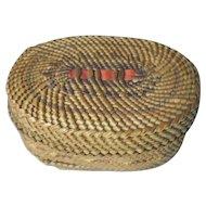 Northwest Indian Basket, Small Oval, Nootka or Makah, Native American