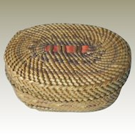 Northwest Indian Basket, Small Oval, Nootka or Makah, Native American