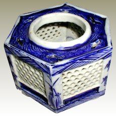 Sake Cup Stand or Haidai, Blue & White, Antique 19th C Japanese