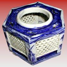 Sake Cup Stand or Haidai, Blue & White, Antique 19th C Japanese