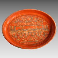 Burmese Red Lacquer Tray, Court Scenes, Vintage Yun, from Pagan