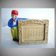 Porcelain Dutch Boy Standing Calendar or Card Holder,  Made in Japan