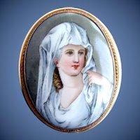 Antique Porcelain Portrait Brooch/Pendant, Vestal Virgin after Angelica Kauffmann
