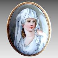 Porcelain Portrait Brooch / Pendant,  Antique, Vestal Virgin after Angelica Kauffmann