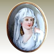 Porcelain Portrait Brooch / Pendant,  Antique, Vestal Virgin after Angelica Kauffmann