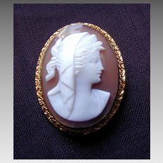 Cameo Brooch Pendant Classic Greco-Roman Woman, Antique Carved Shell