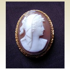 Antique Shell Cameo Brooch/Pendant,  Classic Roman Beauty, Unusual Subject