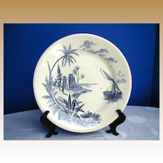Antique Gien French Faience Plate, Algerian Harbor Scene