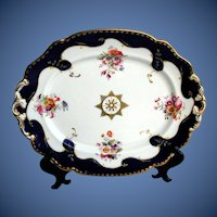 Antique English Porcelain Platter, Hand Painted Flowers, Early 19th C Ridgway