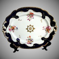 John Ridgway Porcelain Platter, Hand Painted Flowers, Antique Early 19th C English