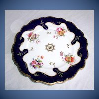 Antique English Plate, Handpainted Flowers, Cobalt & Gold,  Ridgway Early 19th C English