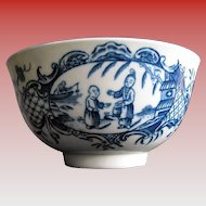 """Worcester Tea Bowl, """" Mother and Child and Man Fishing"""" Antique 18th C"""