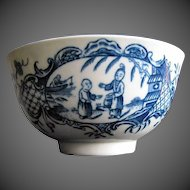 """Antique Worcester Tea Bowl, """" Mother and Child and Man Fishing"""",  18th C"""