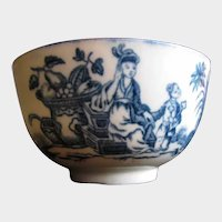 "Antique Worcester Tea Bowl/Cup, 18th C Blue & White, ""Mother & Child"""