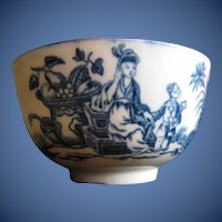 "Antique Worcester Tea Bowl, 18th C Blue & White, ""Mother and Child"""