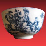 Worcester Tea Bowl, Antique 18th C Blue & White, Mother and Child Pattern