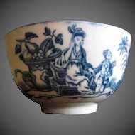 """Antique Worcester Tea Bowl, 18th C Blue & White, """"Mother and Child"""""""