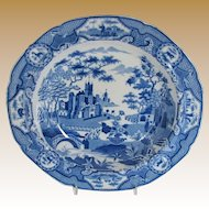 Spode Soup Plate, Gothic Castle, Antique Blue & White Chinoiserie, Antique Early 19th C