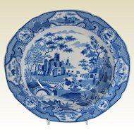 Antique Spode Soup Plate, Gothic Castle, Blue & White Chinoiserie, Early 19th C