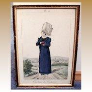 French Costume Print, Gatine/Lante, Coutances, Antique 19th C