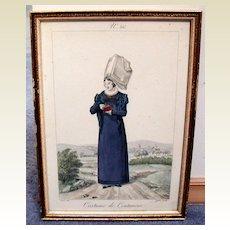 French Costume Print, Gatine/Lante, Coutances, Antique c 1820