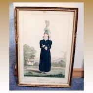 French Costume Print, Gatine/Pecheux, Cauchoise, Antique 19th C