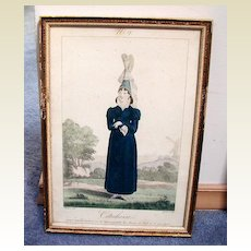 French Costume Print, Gatine/Pecheux, Cauchoise, Antique Early 19th C