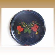 Round Tole Tray, Hand Painted Vintage Toleware