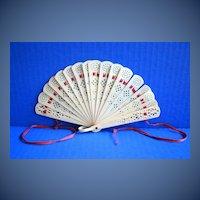 Celluloid Fan, Pierced, Small, Antique, c1900