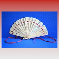 Celluloid Fan, Pierced, Small, Antique, c1900