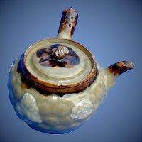 Antique Japanese Teapot, Celadon Glaze, Yokode  (Side Handle), Signed Banko