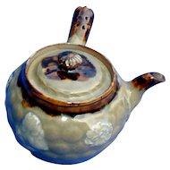 Rare Japanese Banko Teapot, Celadon Glaze, Yokode  (Side Handle), Signed