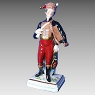 Porcelain Figurine, Napoleonic Era Soldier, Marked N with Crown
