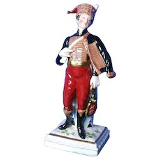 Porcelain Military Figurine, Napoleonic Hussar, Marked N with Crown