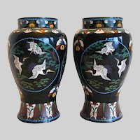 Antique Cloisonne Vases, True Pair,  Flying Cranes, Japanese Meiji Era