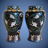 Antique Cloisonne Vases, True Pair,  Flying Cranes, Japanese Meiji Era
