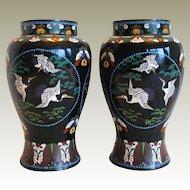 Japanese Black Cloisonne Vases, True Pair, Antique Meiji Era, Flying Cranes