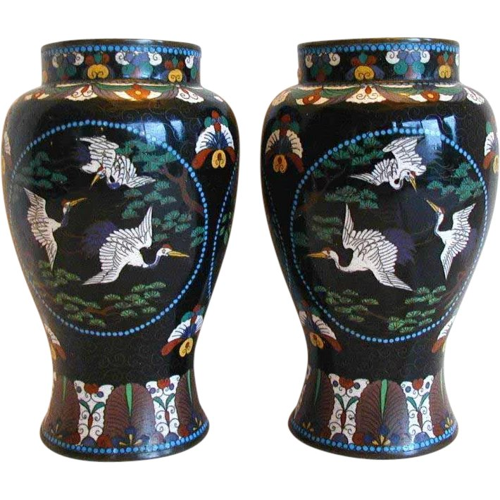 Japanese Black Cloisonne Vases True Pair Antique Meiji